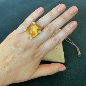 David Yurman Ring Lemon Citrine Diamonds Size 6.0